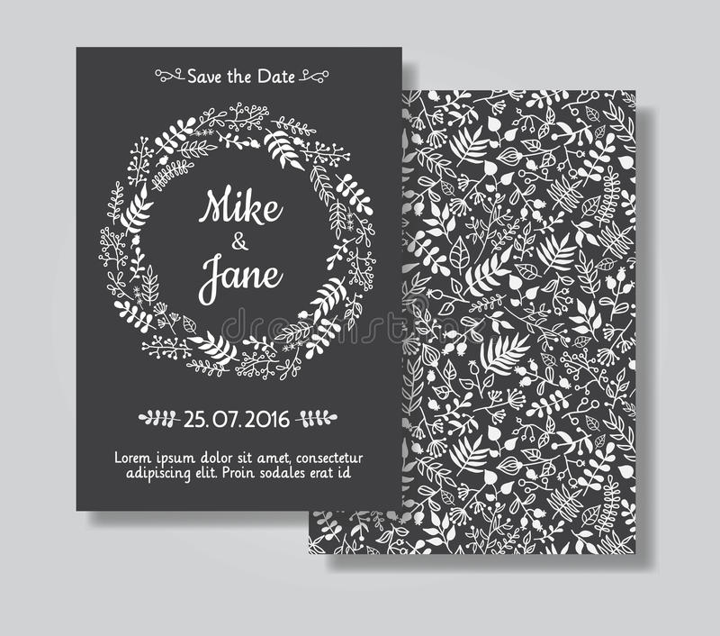 Rustic wedding invitation card set stock vector illustration of download rustic wedding invitation card set stock vector illustration of chalkboard date stopboris Image collections
