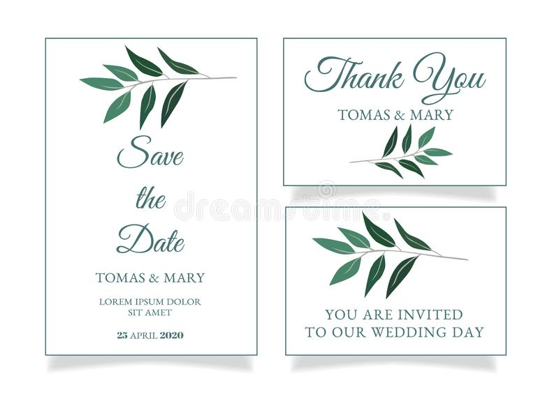 Rustic Wedding Invitation Template With Little Green Leaf Stock Vector Illustration Of Light Rustic 128782722