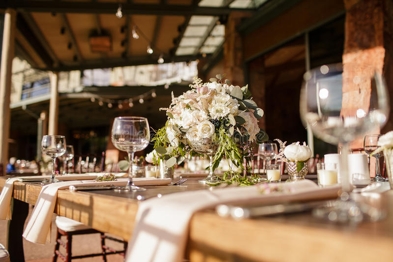 Rustic Wedding reception stock images
