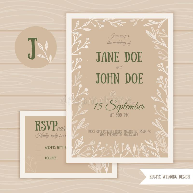 Rustic wedding set with RSVP card with branches and leaves on wooden background. Vector Save the Date illustration. vector illustration