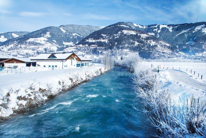 Rustic winter landscape. In Austrian Alps stock photos