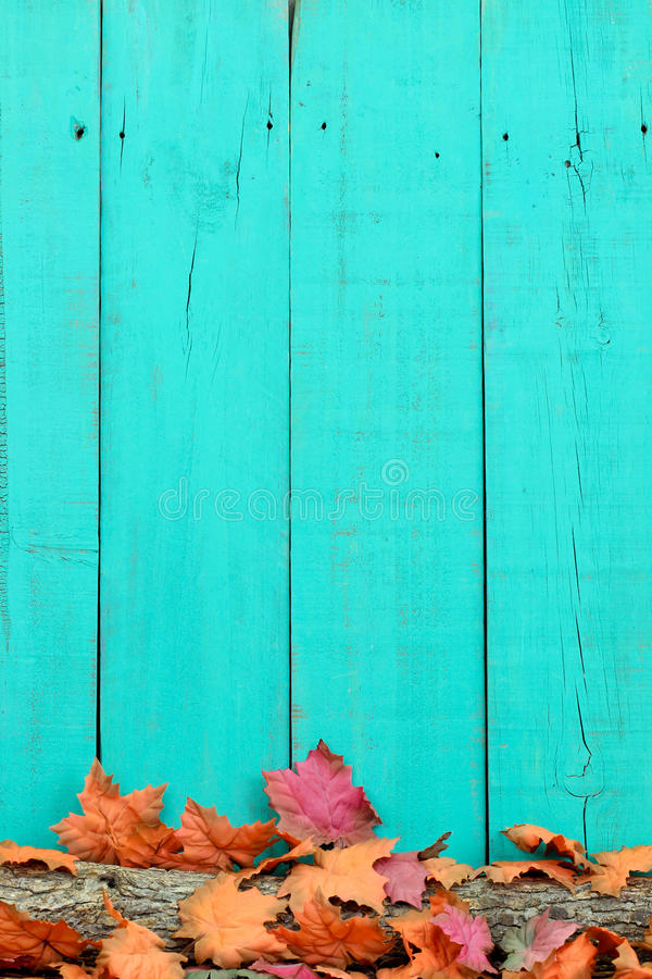 Rustic Wood Background With Autumn Leaves On Log Stock
