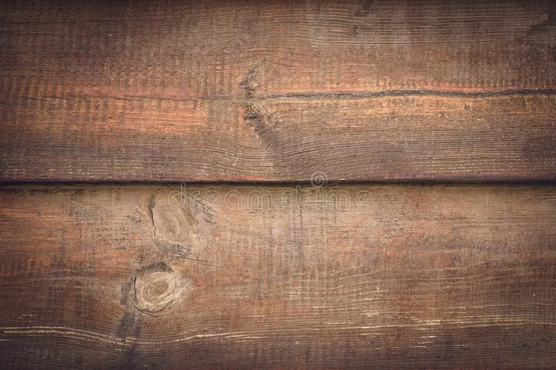 Rustic wood background. Brown wooden planks. Horizontal lines on dirty wall, fence. Vintage timber plank, scratched surface. Grung. E texture. Shabby table stock photo