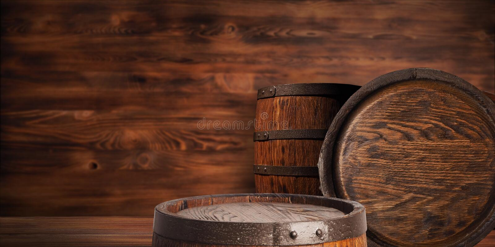 Rustic wooden barrel on a night background royalty free stock images