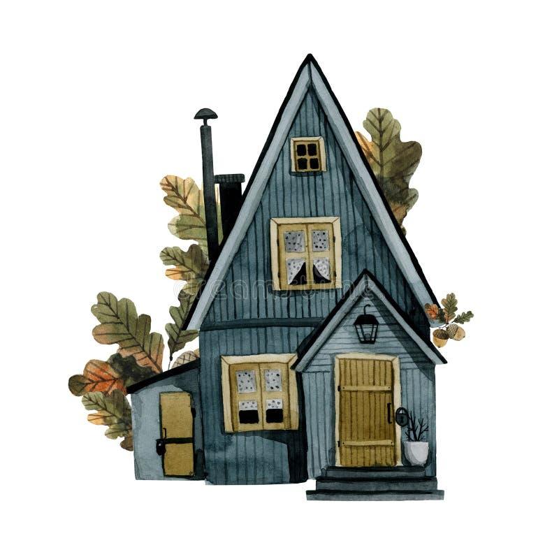 Autumn Oaks Apartments: Blue House Yellow Door Stock Photos