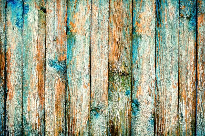 Rustic Wooden Fence Purification Of Blue Paint Stock Photo Image