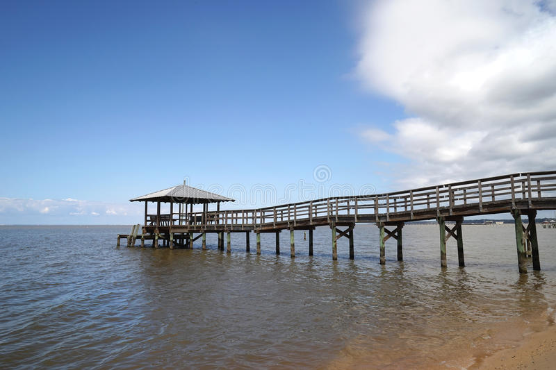 Rustic Wooden Fishing and Swimming Pier stock photography