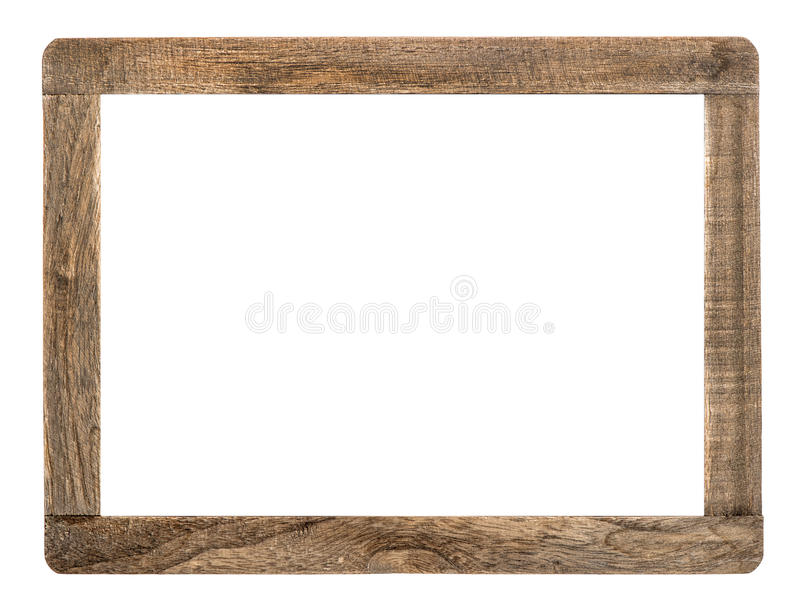 Rustic wooden frame isolated on white royalty free stock images