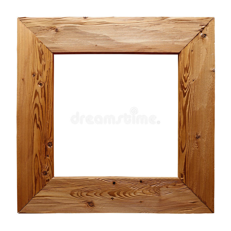 Rustic Wooden Frame Isolated On White Stock Photo - Image of rustic ...