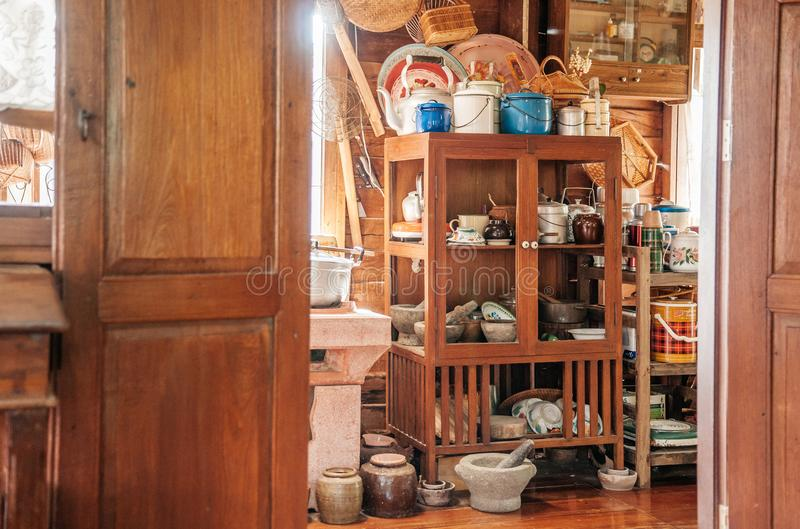 Rustic wooden vintage kitchen in country house interior decoration for Thai style house royalty free stock photos