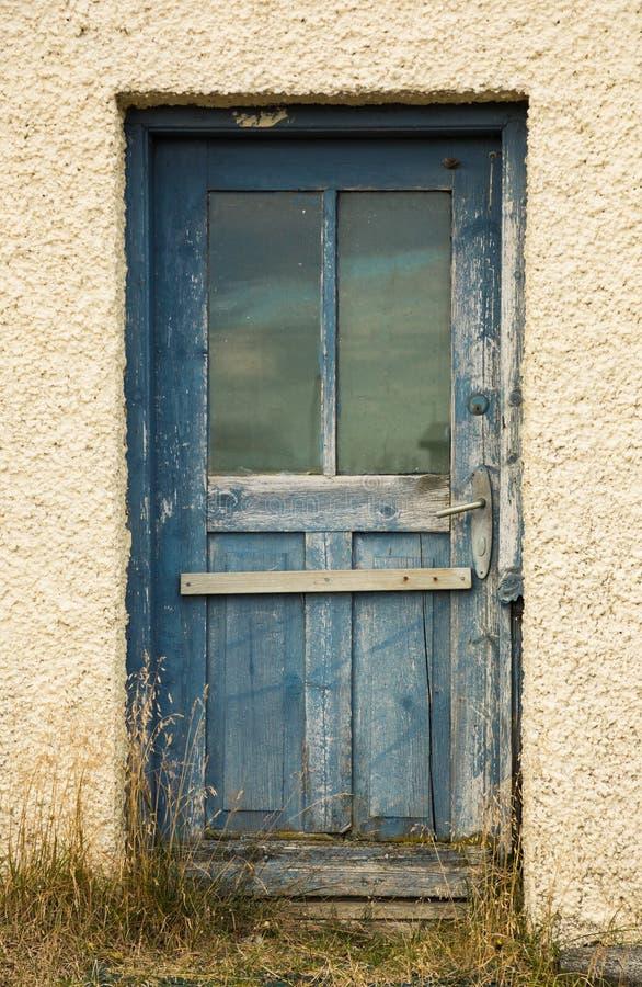 Rustic Worn Wooden Blue Painted Exterior Door Stock Photo - Image of ...