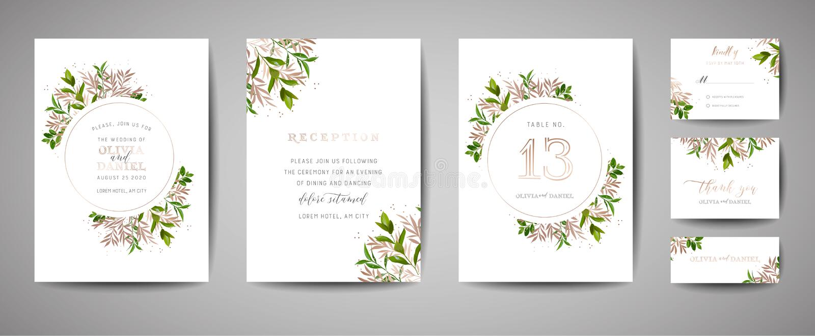Rustical Floral Vintage Wedding Save the Date, Invitation Cards Collection with Gold Foil. trendy cover, graphic poster vector illustration