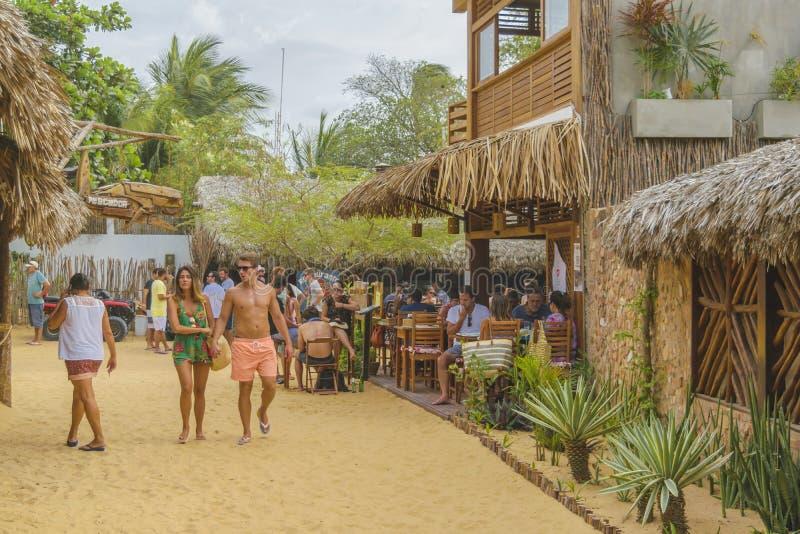 Rustiek Stijlrestaurant in Jericoacoara Brazilië stock foto