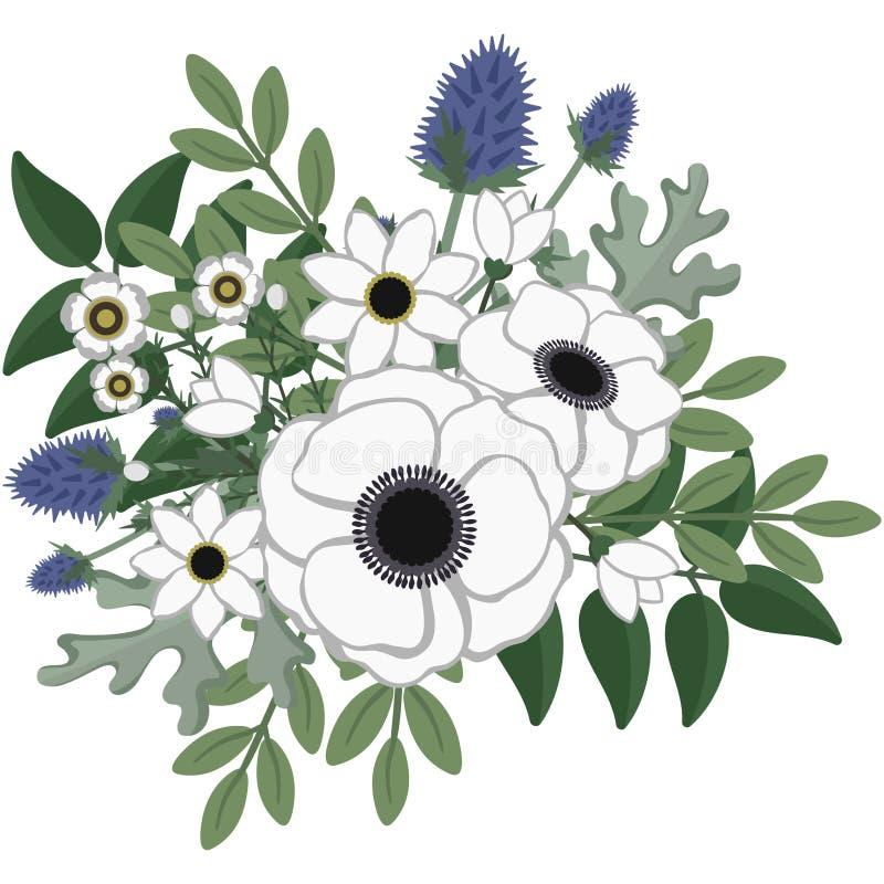Rustieke Anemone Floral Arrangement vector illustratie