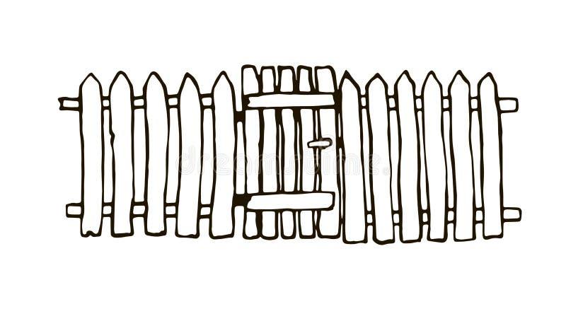 Rustieke die omheining van hout wordt gemaakt stock illustratie