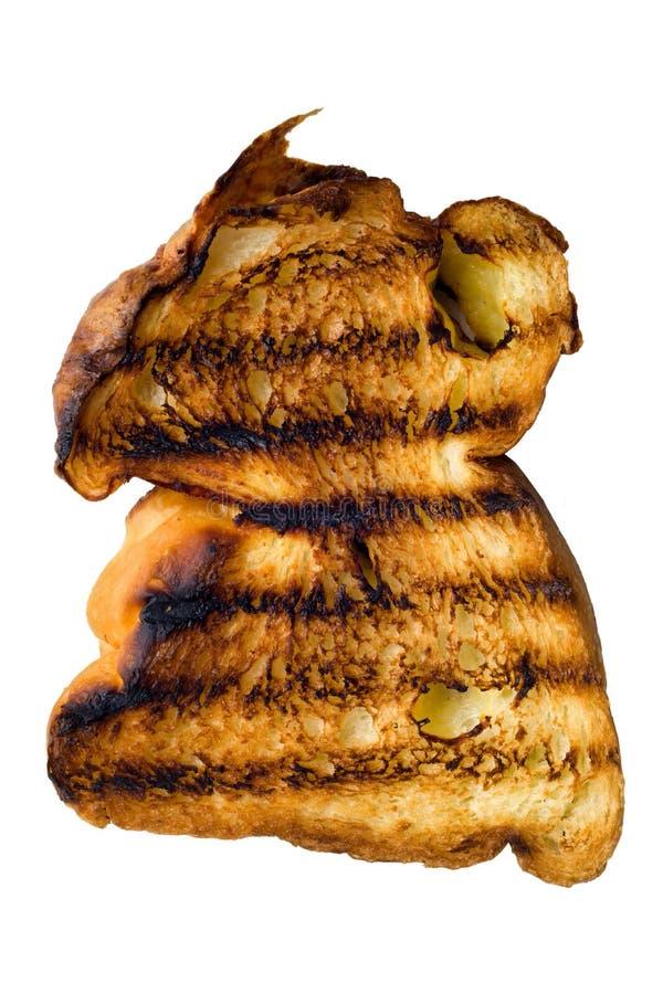 Rustieke gouden geroosterde geïsoleerde broodtoost royalty-vrije stock afbeeldingen