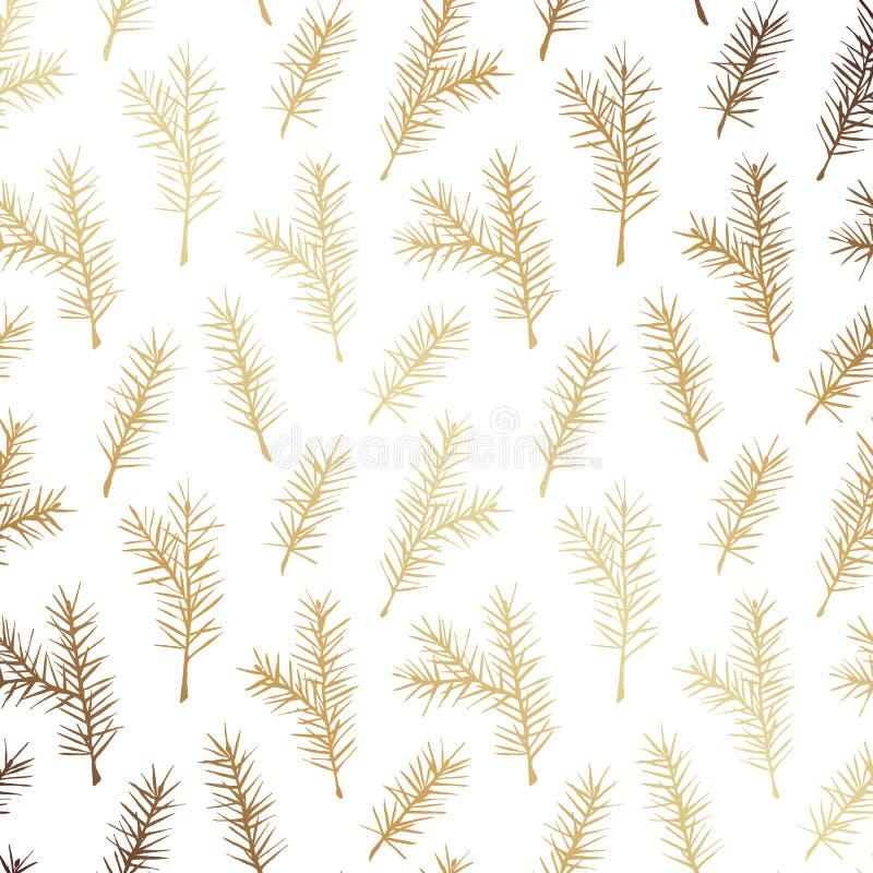 Rustieke Hand Getrokken Gouden Sparren Vector Naadloos Patroon Achtergrond van de de Lijntekening van het Kerstmis de Gouden Gebl stock illustratie