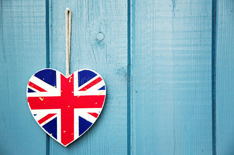Rustieke het hartdecoratie van Union Jack stock foto