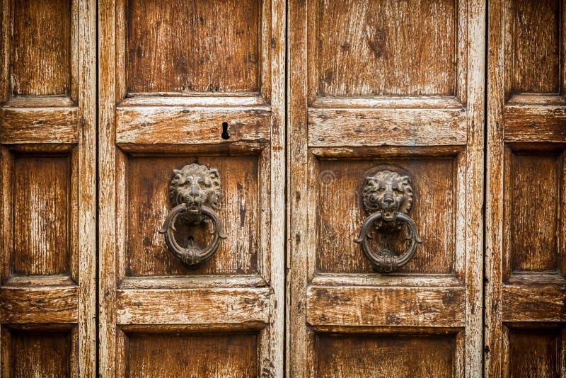 Rustieke houten deur met kloppers stock fotografie