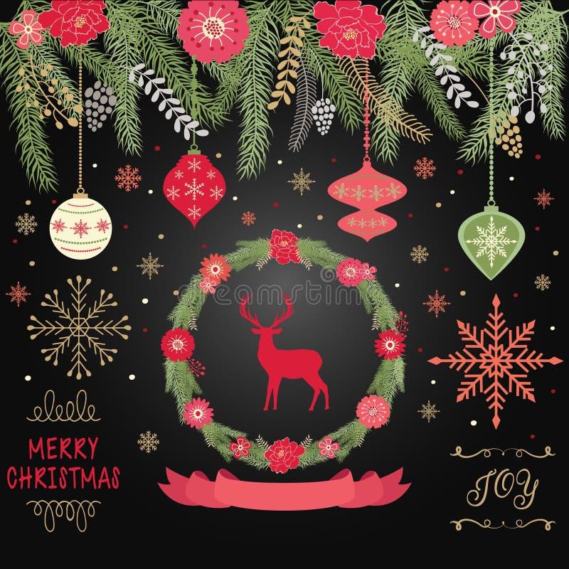 Rustieke Kerstmis, Vrolijke Kerstmis, Kroon, Banner, Bal, Sneeuwvlokken, Kerstmisornamenten, de Uitnodigingskaart van de Kerstmis vector illustratie