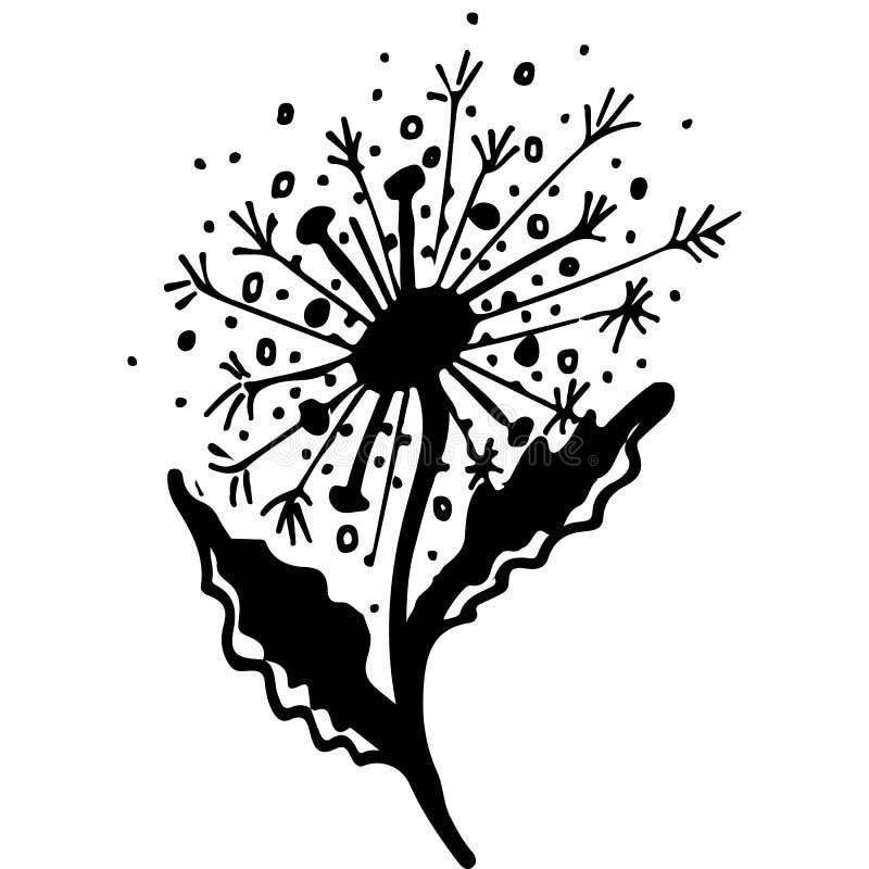 Rustieke paardebloem naadloos patroon op witte achtergrond Naadloze de handkrabbel van de schetspaardebloem voor decoratief ontwe stock illustratie