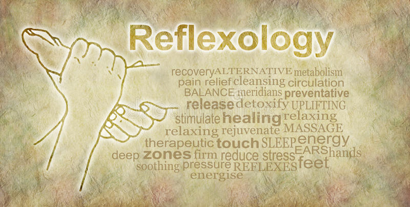 Rustieke Reflexology-Word Wolkenbanner stock illustratie