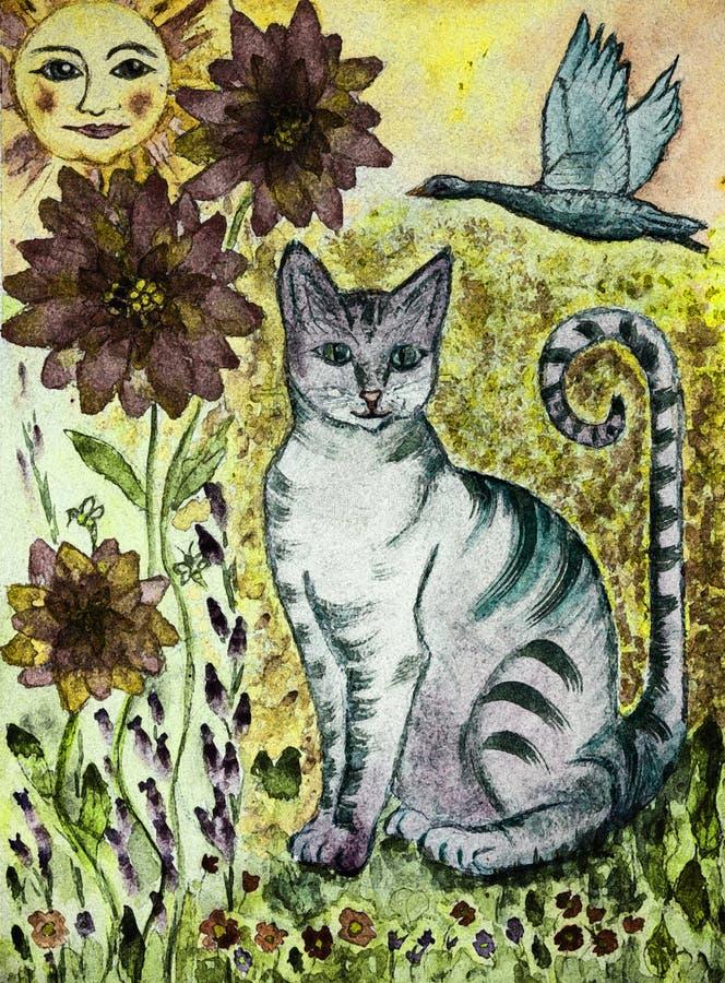 Rustieke turkooise kat met groenachtige ogen, vliegende gans, zon en bloemen vector illustratie