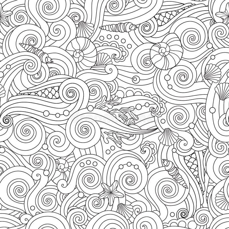 Rustige hand getrokken overzichts naadloos patroon met overzeese die golven, zeeschelpen op witte achtergrond worden geïsoleerd stock illustratie