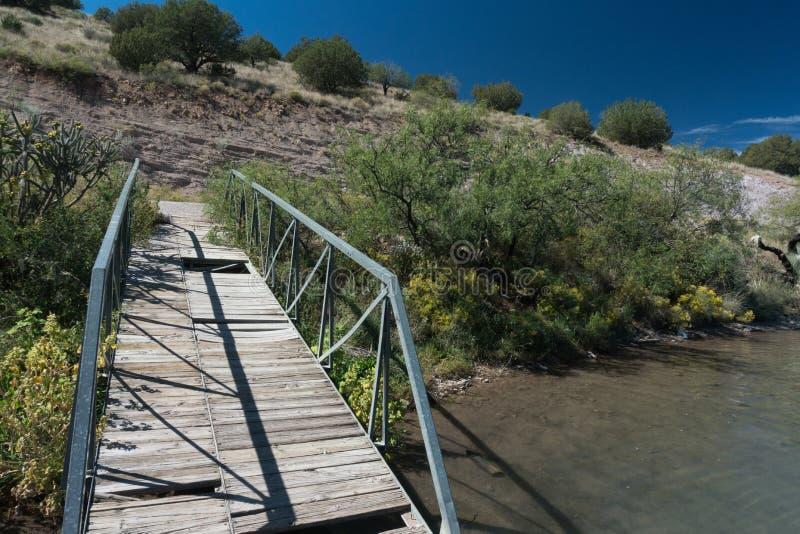Rustikale Dockansicht am Bill Evans See, New Mexiko stockbilder