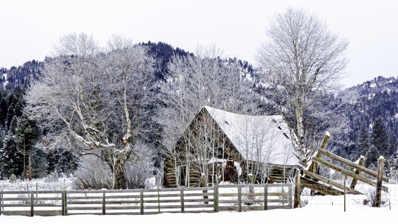 Rustikale Kabine im Schnee mit einem Zaun lizenzfreies stockfoto