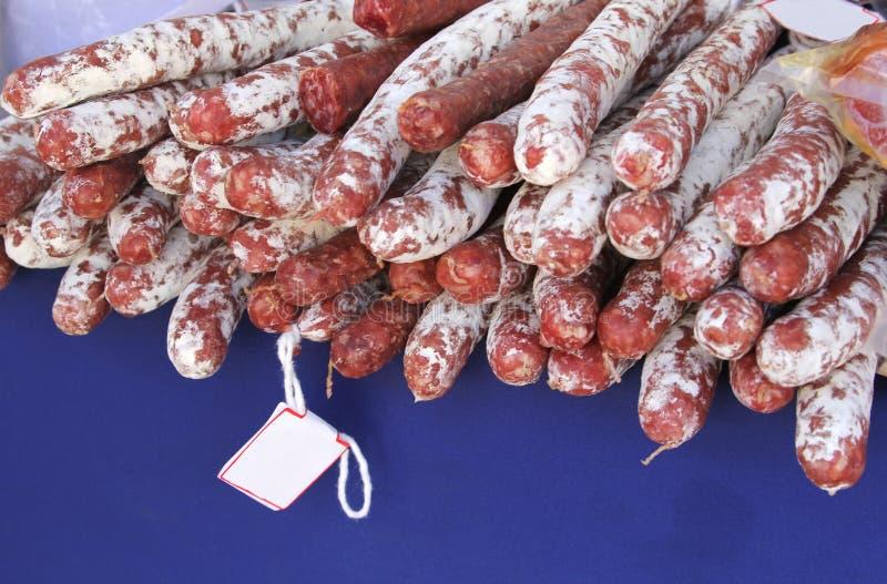 Rustikale spanische Chorizos, Mallorca, Spanien stockfotos
