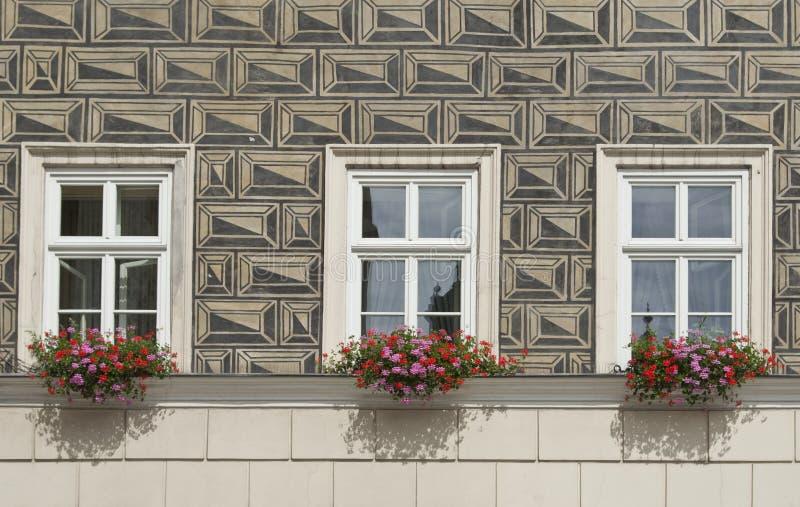 Rustikale Wand Der Illusion, Fenster Und Blumenkästen Stockfoto ...