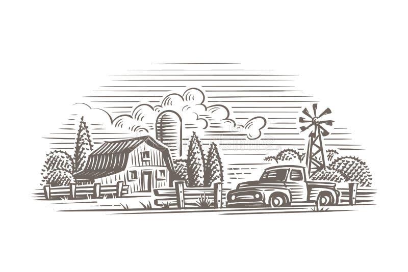Rustikale Weinleseart-Bauernhofillustration Vektor lizenzfreie abbildung