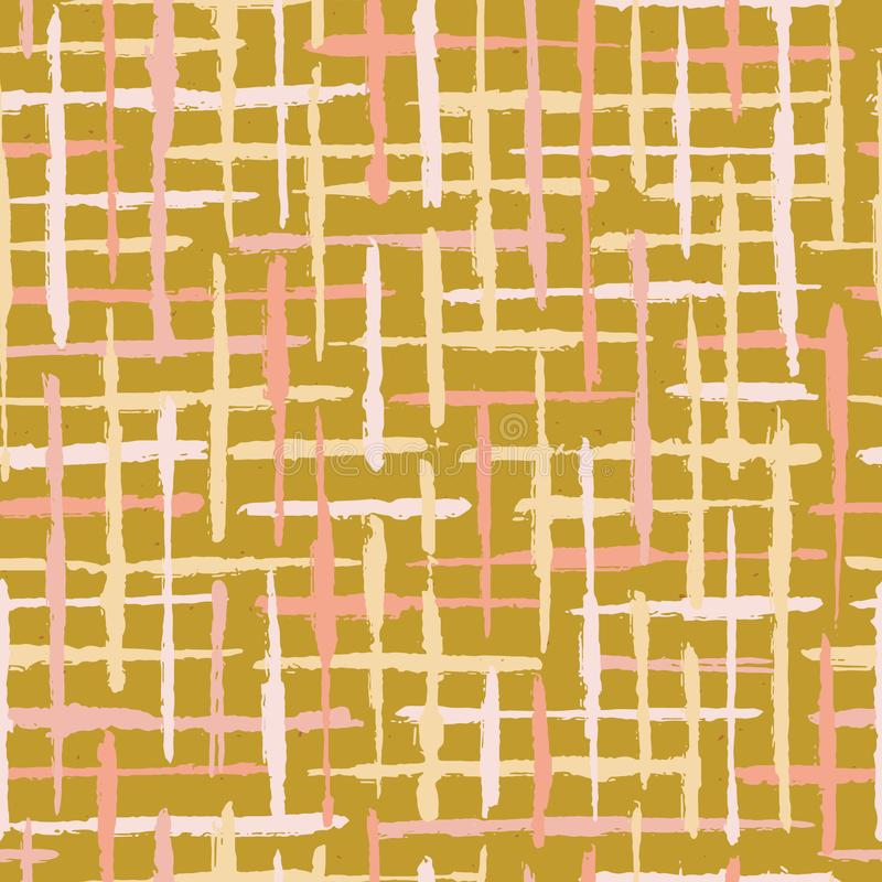 Rustikaler Beschaffenheits-Schmutz streift nahtloses Vektor-Muster Raue strukturierte Linien Hintergrund-Illustration stock abbildung
