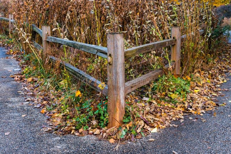 Rustikaler Bretterzaun Corner während des Herbstes lizenzfreie stockfotografie