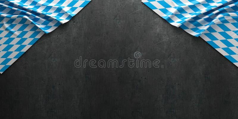 Rustikaler Hintergrund für Oktoberfest mit bayerischem weißem und blauem Gewebe - Wiedergabe 3D stockbilder