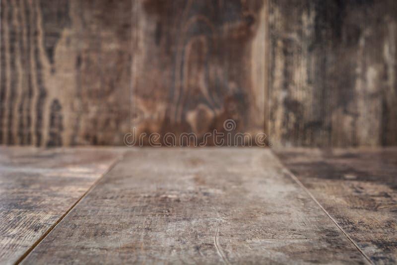 Rustikaler Holztisch-Hintergrund leer stockbilder