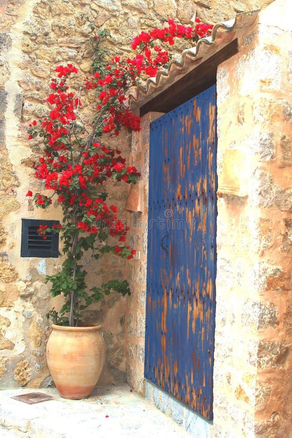 Rustikaler Mittelmeerpatio mit blühenden Blumen lizenzfreie stockfotografie