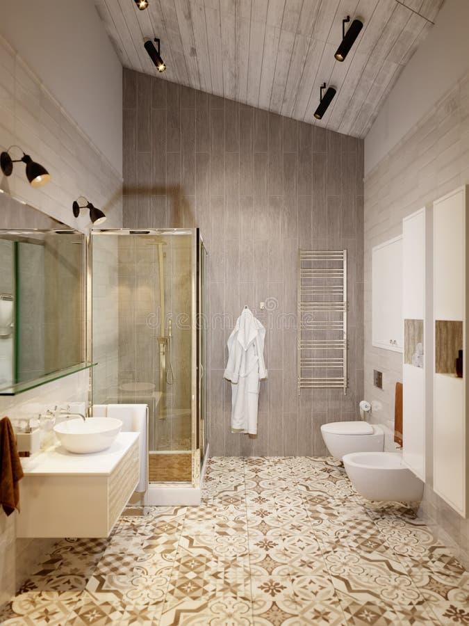 Rustikaler Provence-Dachboden-Badezimmer-Dusche-WC-Raum lizenzfreie abbildung