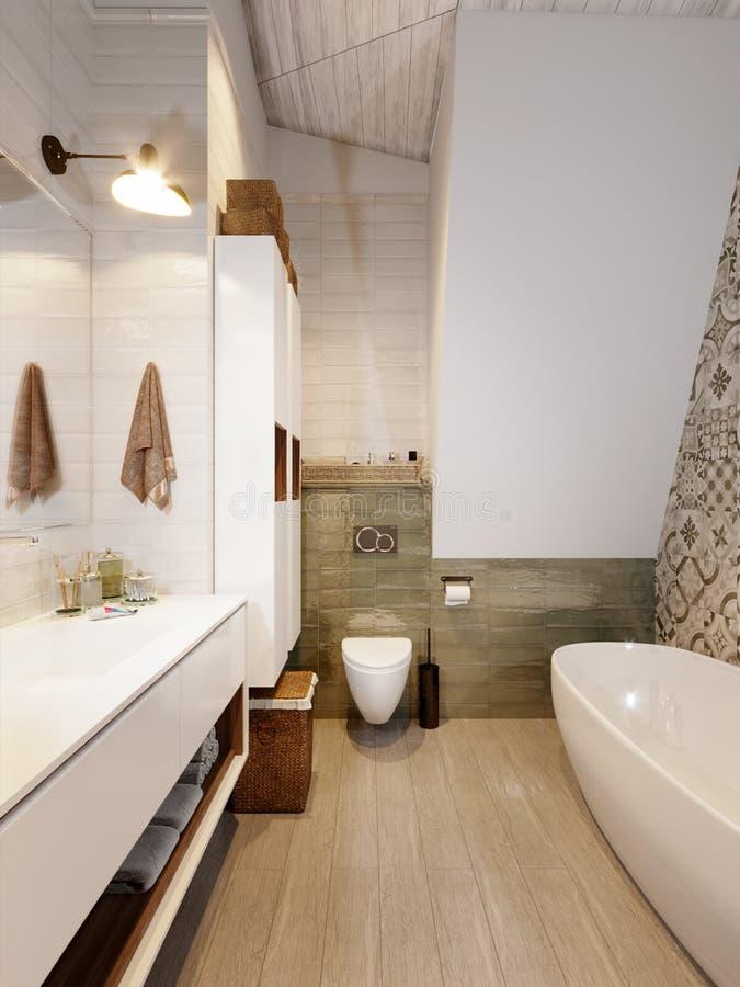 Rustikaler Provence-Dachboden-Badezimmer WC-Raum-Innenraum Stock ...