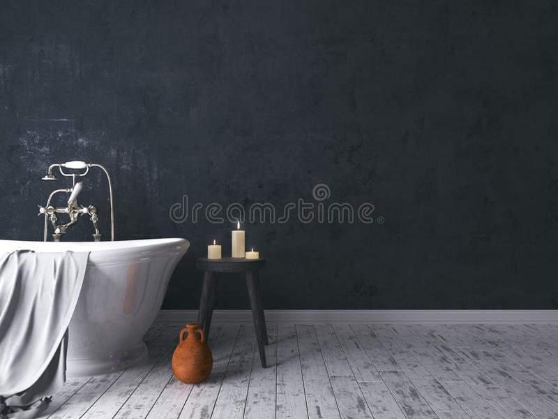 Rustikales Badezimmer mit altem hölzernem Schemel lizenzfreie stockbilder