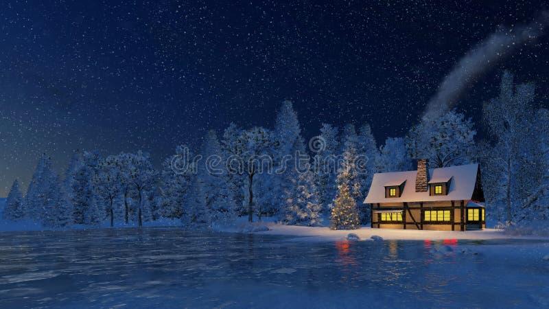 rustikales haus und weihnachtsbaum nachts schneefall stock. Black Bedroom Furniture Sets. Home Design Ideas