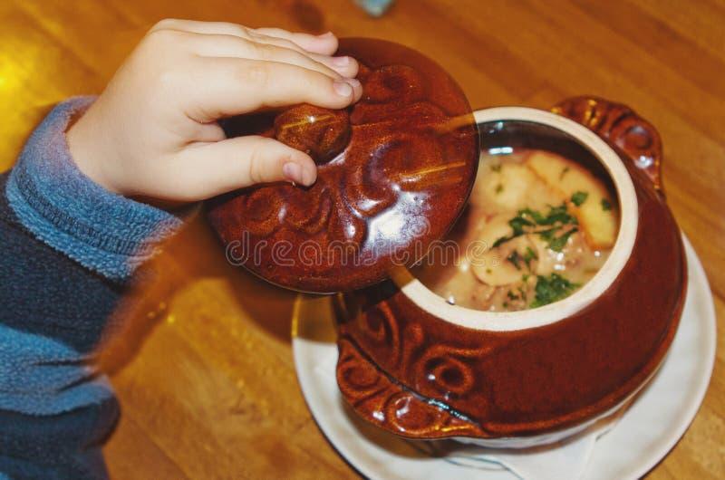 rustikales Nahrungsmittelpilzsuppe-Kartoffelkraut-Tongefäß stockfoto