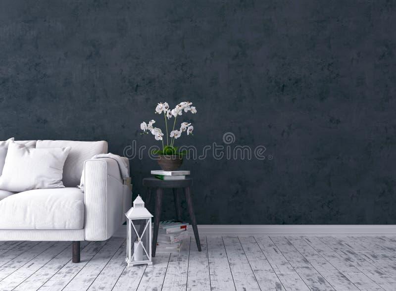 Rustikales Wohnzimmer mit Sofa, Kerzenständer, Orchidee, alter Schemel stockfotos