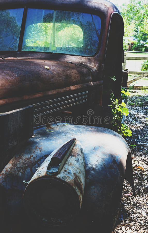 Rusting derelict 1940's Chevy royalty free stock photos
