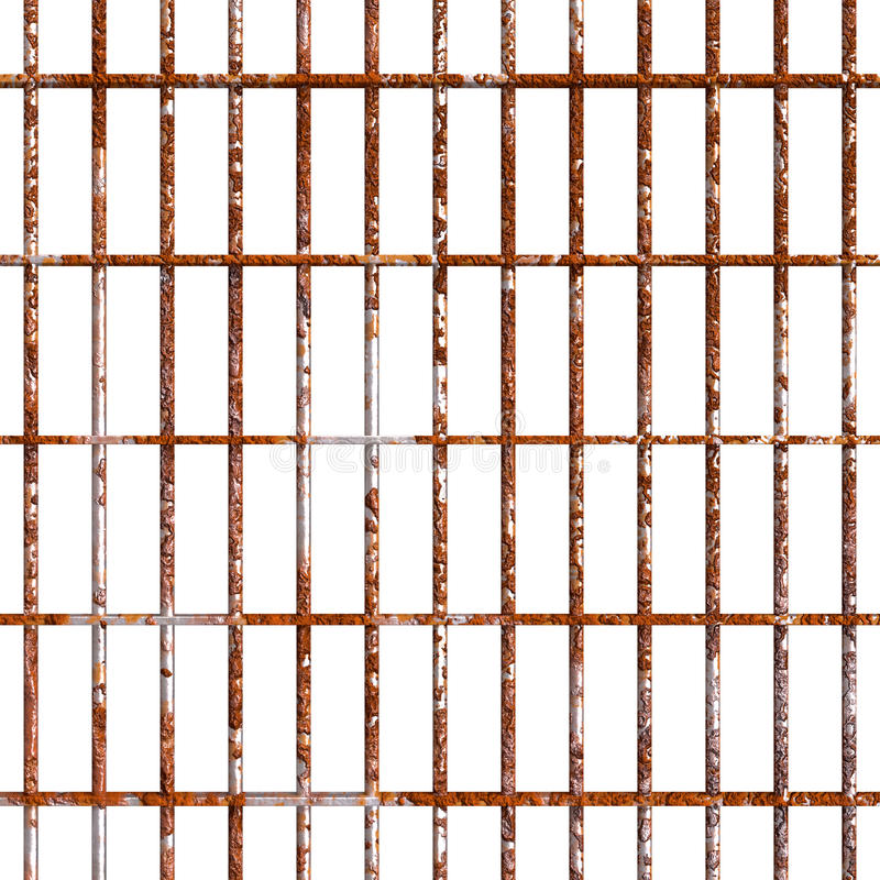 Rust prison bars. Rustic prison strong bars and braces. Oxidized bar cage rusty texture. PNG image with transparent background vector illustration