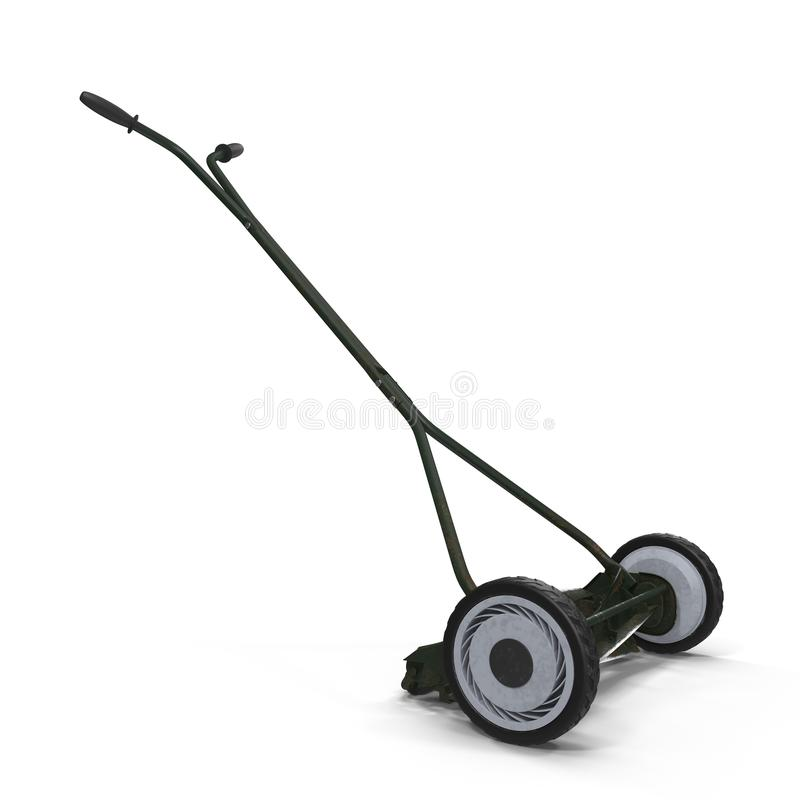 Rusty Antique Push Mower isolated on white. Background royalty free stock images