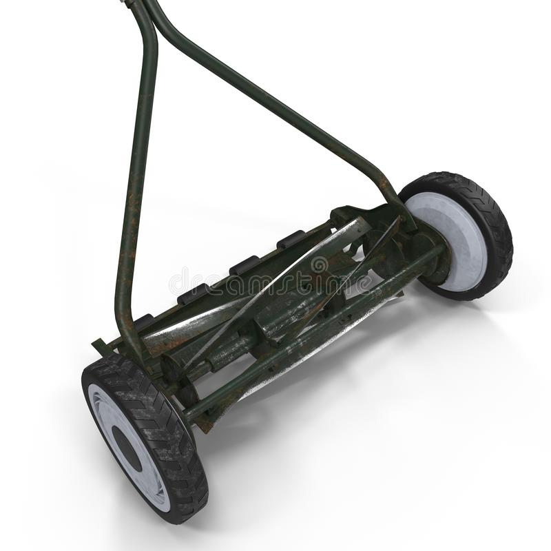Rusty Antique Push Mower isolated on white. Background royalty free stock photos