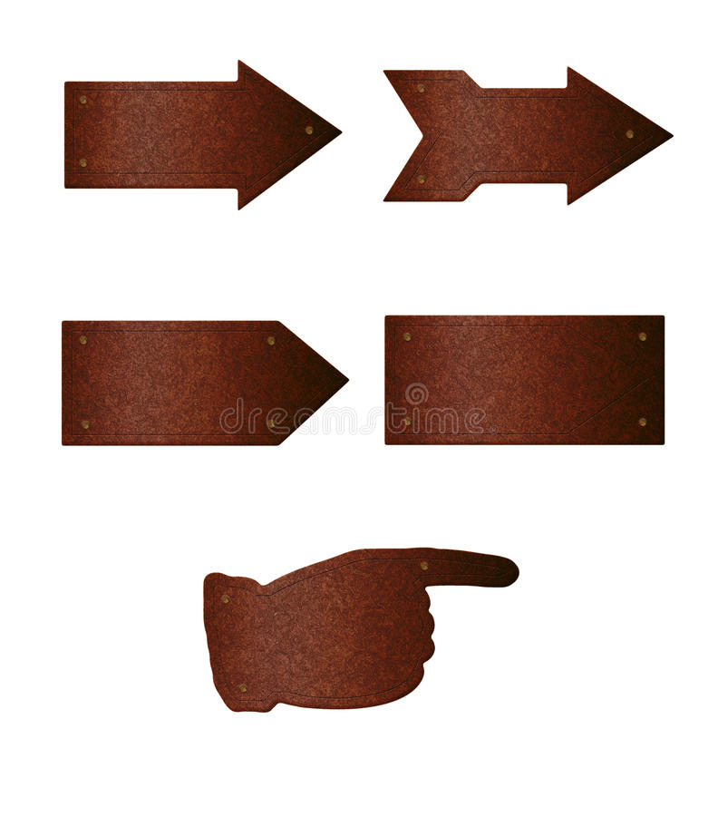 Rusty Arrow Plates. Photorealistic illustrations of rusted arrow or pointer-shaped plates isolated on white background, with empty area you can write your own vector illustration