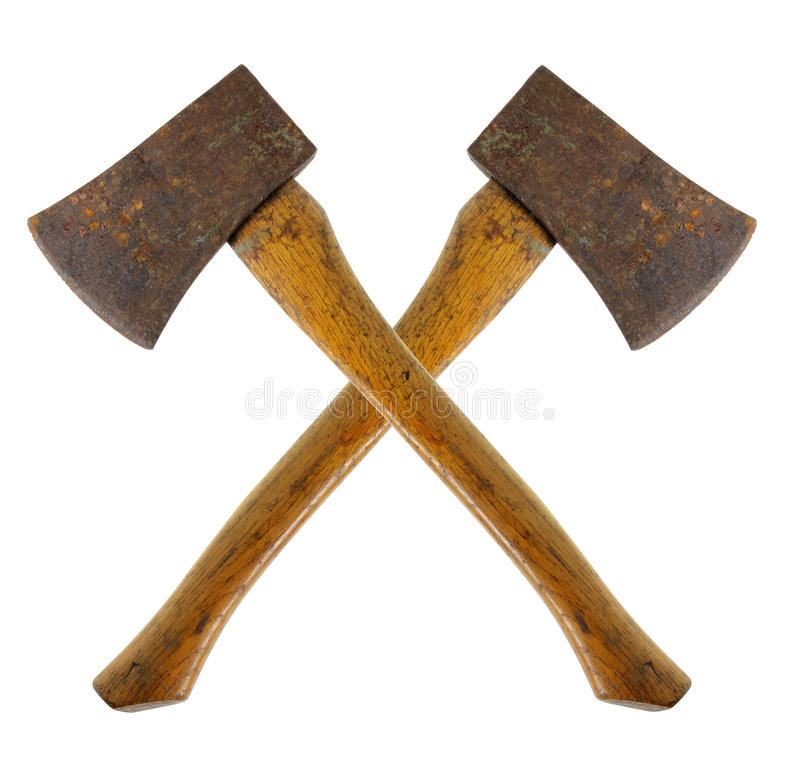 Rusty Axes. On White Background royalty free stock photo